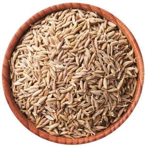 Dried cumin seeds in a bowl
